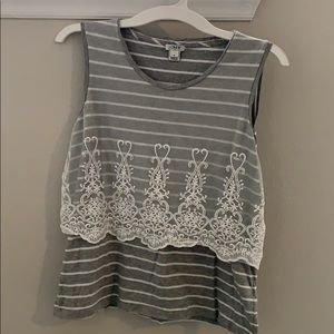 J Crew Gray & White Striped with Lace Tank